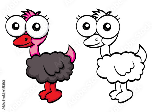 Funny cartoon ostrich
