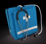 first aid kit, medical kit, isolated on black background.
