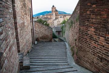 evening panoramic view of the city of Urbino, Italy