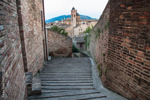 evening panoramic view of the city of Urbino, Italy