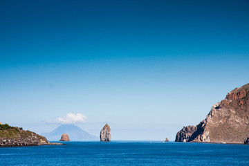 Aeolian Islands, two cliffs near Vulcano Island,Sicily, Italy