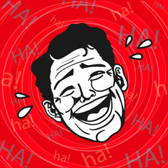 Vintage Retro Clipart : Lol, Man Laughing Out Loud