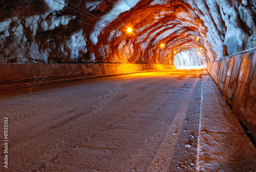 tunnel illuminated with electric light