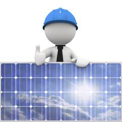 omino bianco appoggiato al pannello solare