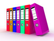 Row of color office folders