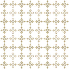 Beige seamless ornamental pattern on white