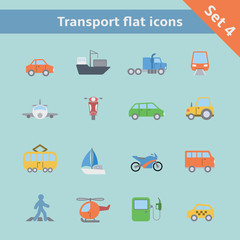 Transportation flat icons set
