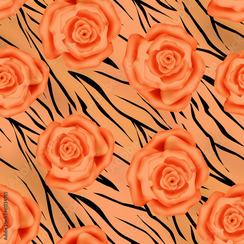Orange roses on tiger wild skin leather seamless pattern