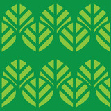 Abstract vector seamless pattern green leaves