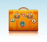 Travel suitcase with stickers