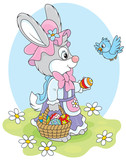 Easter Bunny with a basket of colored eggs