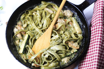 Pasta and chicken meat in cream sauce