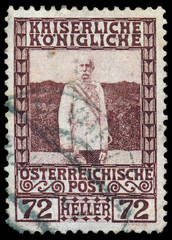 AUSTRIA - CIRCA 1908: a stamp printed in the Austria shows Franz