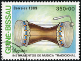 stamp printed in GUINEA shows drum