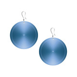 Metallic round blue earrings isolated on white background