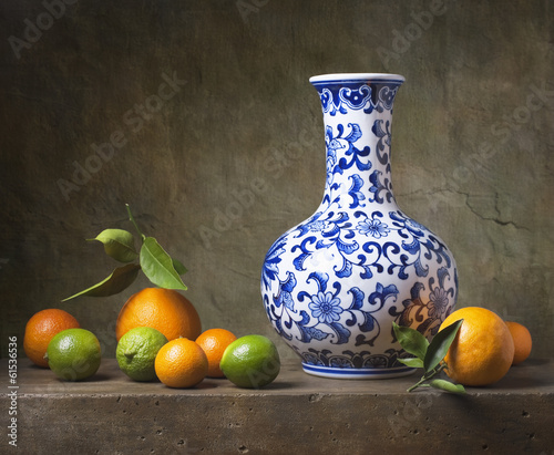 Still life with chinese vase and fruit