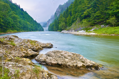 Stones on riverbank in the mountains. The Dunajec River Gorge
