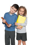 Clever boy and girl with books