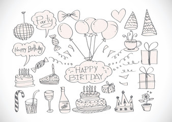 Birthday doodles. Vector illustration