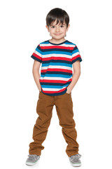 Young smiling boy in striped shirt