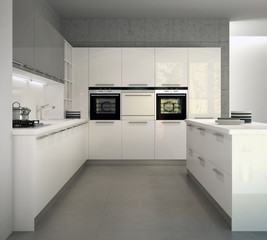 White glossy modern kitchen in an interior