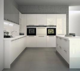 White glossy modern kitchen in an interior