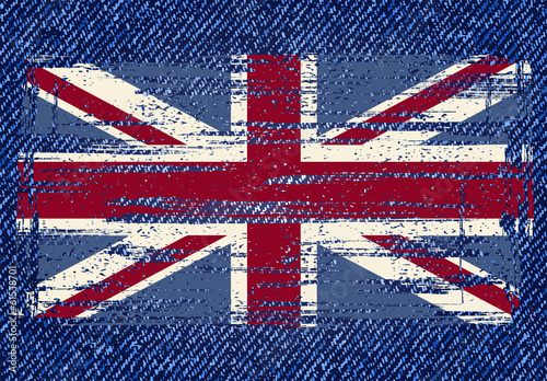 Grunge British flag on jeans background. Vector