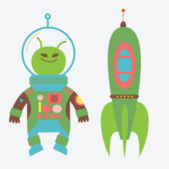 Green alien and rocket