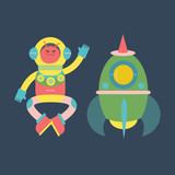 Cute alien with rocket illustration