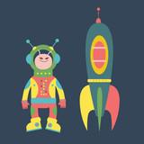 Friendly alien and rocket illustration - 61539178