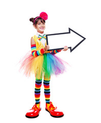 little clown girl holding the  arrow pointer isolated on white