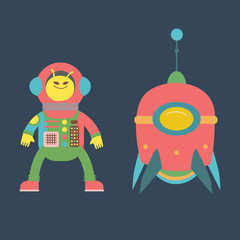 Cute alien and rocket illustration