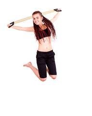 fittness teen girl jumping, white background