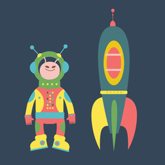 Friendly alien and rocket illustration