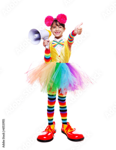 Papiers peints Carnaval little clown girl holding a loud speaker