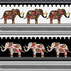 Oriental pattern with elephants