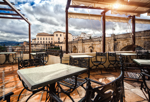 View from the terrace cafe on the Ronda city. Spain - 61539341
