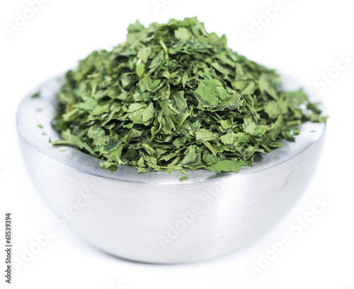 Bowl with dried Parsley on white