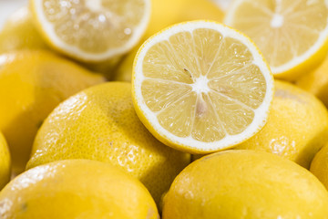 Lemons on vintage wooden background