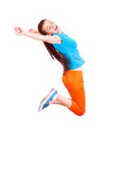 Teen girl jumping for joy on white background
