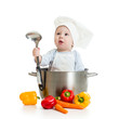 cook baby with healthy food isolated on white