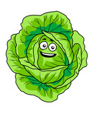 Smiling fresh green cabbage