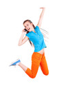 girl phoning and jumping for joy, white background