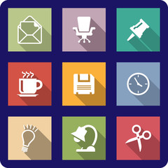 Office icons on coloured backgrounds