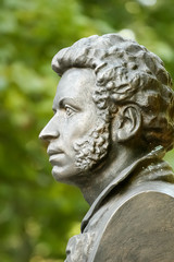 The bronze bust of Alexander Pushkin in Gomel. Belarus