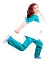 medical doctor or nurse jumping, running, with whiteboard