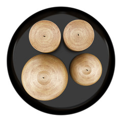 top view of four brown candles on dish isolated on white backgro