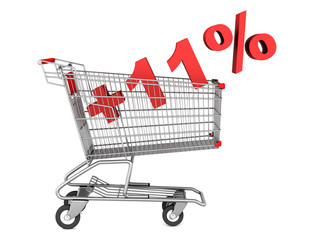 shopping cart with plus 11 percent sign isolated on white backgr