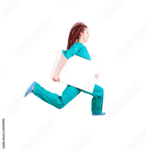 medical doctor or nurse jumping with whiteboard, white backgroun