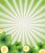 Leprechaun gold coins and clover